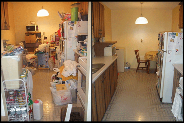 Before and after of a kitchen project