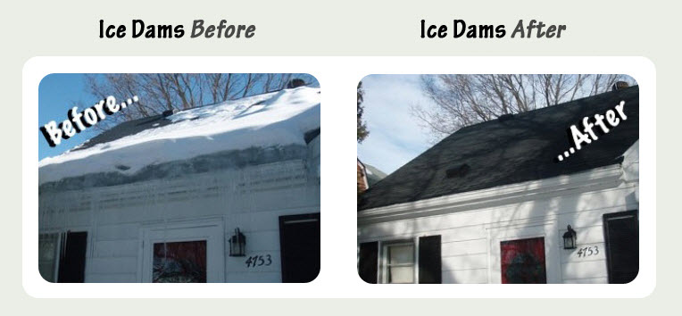 Before and after of removing ice from roof